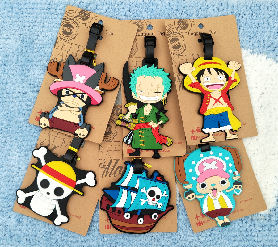 One Piece Luffy Chopper Anime Travel Accessories Luggage Tag Suitcase ID Address Portable Tags Holder Baggage Label New