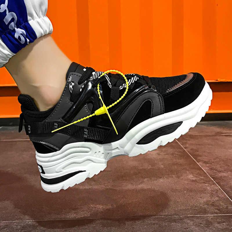 Stilvolle Frauen Casual Schuhe Liebhaber Leder Papa Plattform Chunky Turnschuhe Harajuku Flache Dicke Sohle Tenis Wedge Weiß Korb Zu Fuß