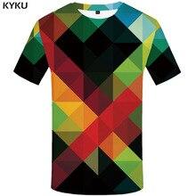 KYKU Brand Psychedelic T shirt Men Geometric Tshirt Printed Graffiti Shirt Print Russia Funny shirts Harajuku T-shirts 3d