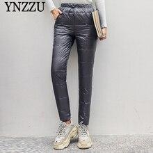 Зимние толстые теплые женские пуховые штаны большого размера женский с эластичной талией брюки элегантные брюки YNZZU YB387