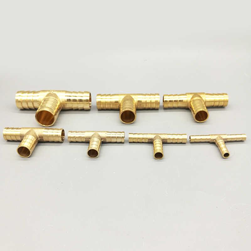 T ウェイ t 形状真鍮バーブパイプホース継手 3 ウェイコネクタのための 4 ミリメートル 5 ミリメートル 6 ミリメートル 8 ミリメートル 10 ミリメートル 19 ミリメートルホース銅パゴダ水管継手