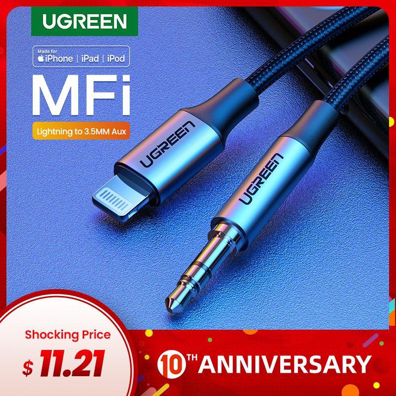 Ugreen MFi Lightning To 3.5mm Aux Cable For IPhone 11 Pro Max X 7 3.5mm Jack Male 1M Cable Car Converter Headphone Audio Adapter