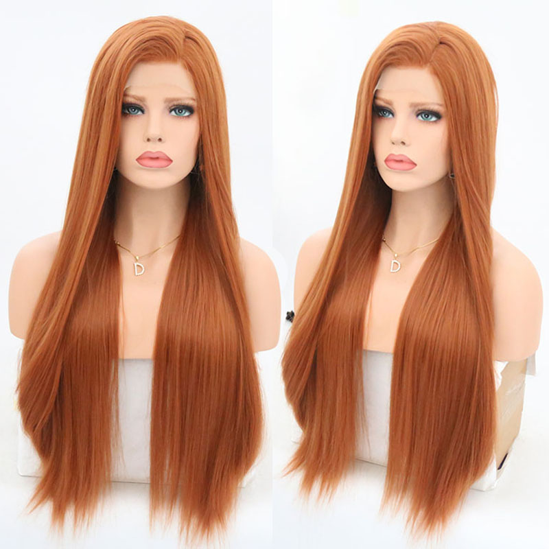 RONGDUOYI Heat Resistant Fiber Silky Straight Synthetic Lace Front Wig Long Orange Glueless Front Cosplay Lace Wigs for Women
