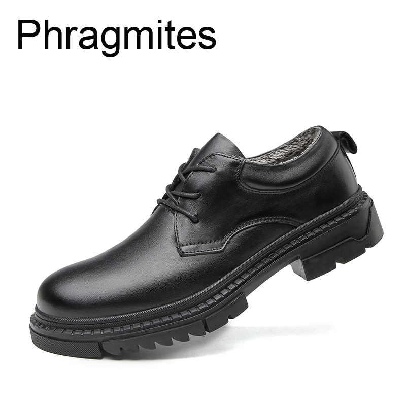 Phragmites ธุรกิจหนังหนังแท้ลำลองรองเท้าสีดำทั้งหมดตรงกับผู้ชาย Loafers ฤดูหนาวขนสัตว์ธรรมชาติรองเท้าผ้าใบ Anti-SLIP BOOT