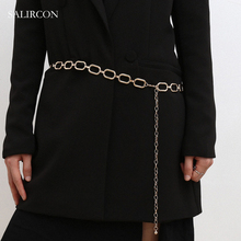 Salircon Fashion Women's Waist Chain Belt Sexy Cuban Link Chain Long Thick Belly Chain Minimalist Body Jewelry Accessories Gifts salircon fashion multi layered waist chain belt for women gold color chain imitation pearl leather belly chain sexy body jewelry