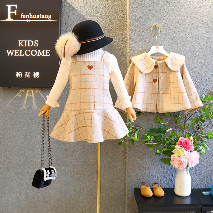 2pcs set Fashion Kids England Style Plaid Princess Woolen Jacket Dress for Girls Children Treasure Dress Love Heart Clothing Set in Clothing Sets from Mother Kids