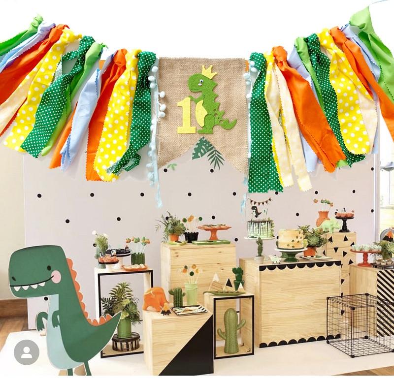 7.99US $ 30% OFF Dinosaur Bunting Garland 1 Year Happy Birthday Banners Flag Foil Balloon Sequin Bal...