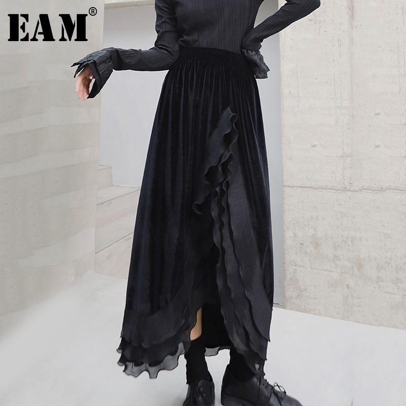 [EAM] High Elastic Waist Black Asymmetrical Velevt Temperament Half-body Skirt Women Fashion Tide New Spring Autumn 2020 1S345