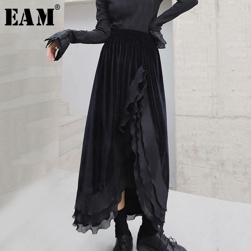 [EAM] High Elastic Waist Black Asymmetrical Velevt Temperament Half-body Skirt Women Fashion Tide New Spring Autumn 2020 1S345