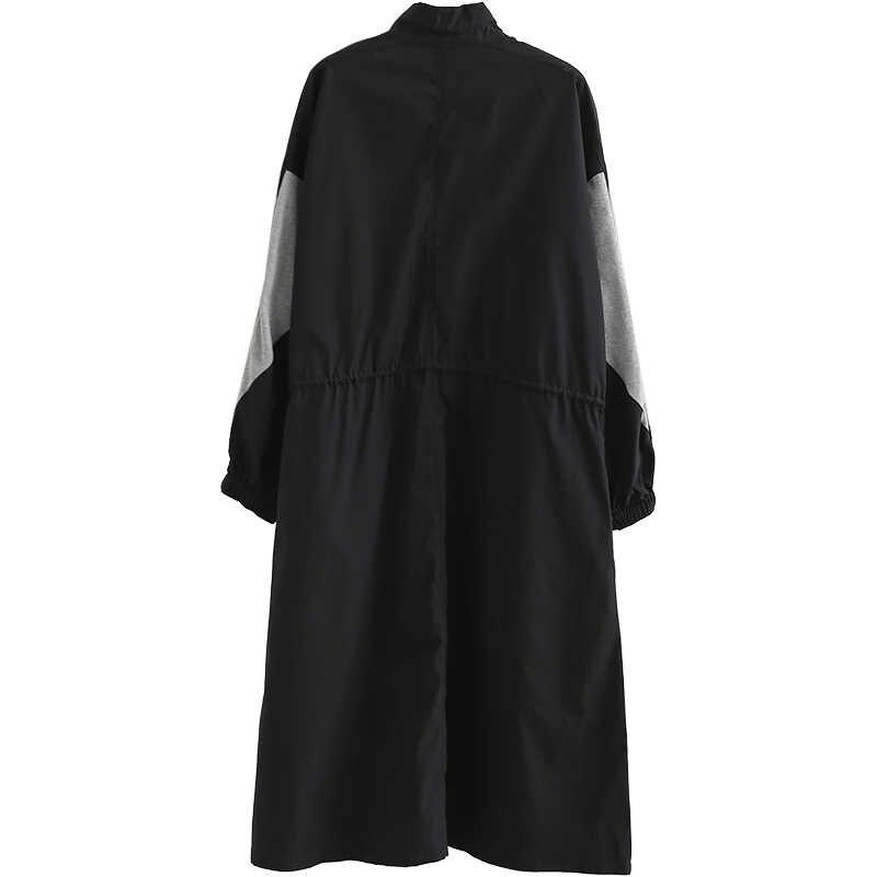 XITAO Herbst Schwarz Splice Midi Kleid Plus Größe Frauen Hit Farbe Vintage Kordelzug Langarm Stehen Kragen 2019 Neue ZLL1946