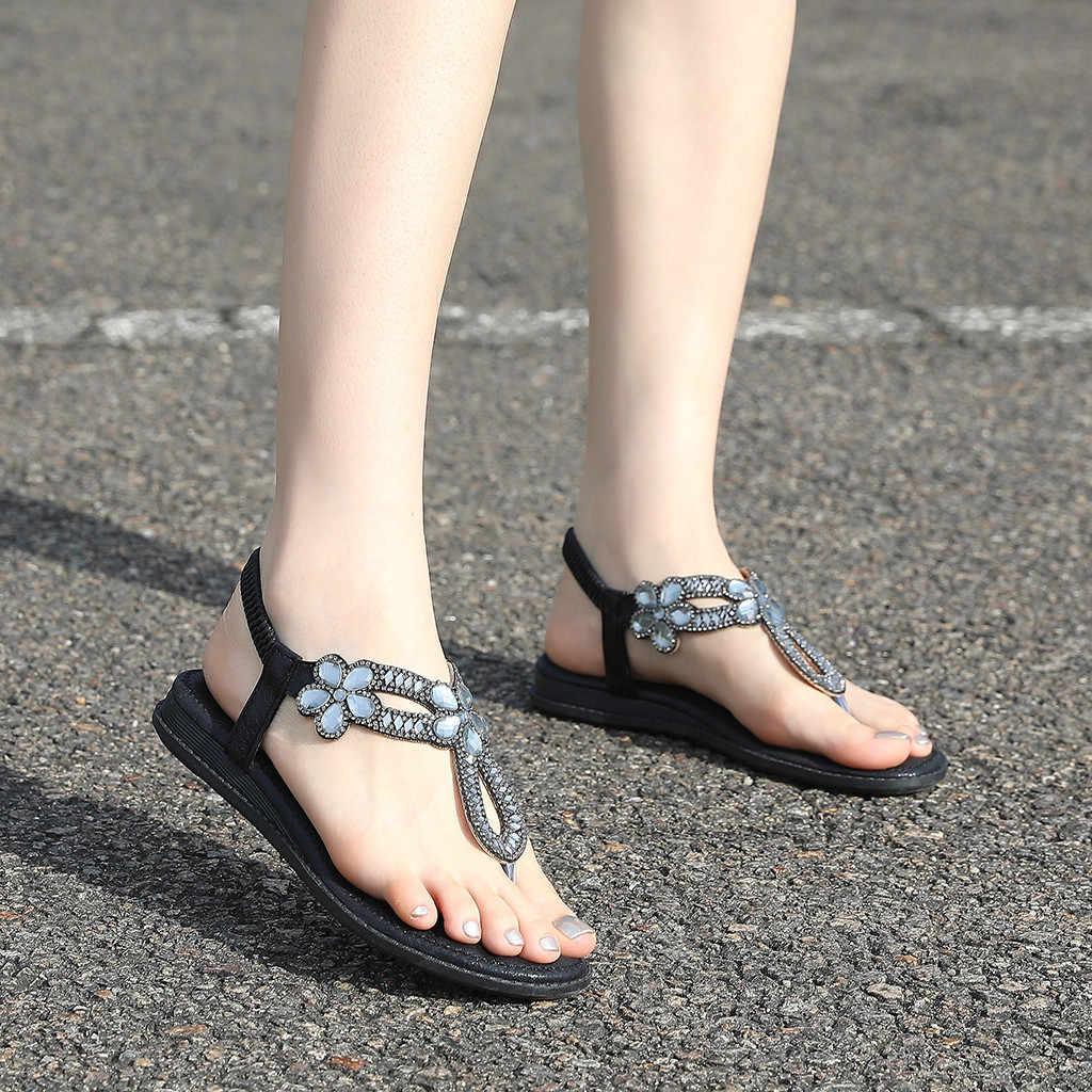 Ladies Flat Bohemia Wild Summer Rome Flip Flop Rubber Sandals Womens Clip Toe Sandals