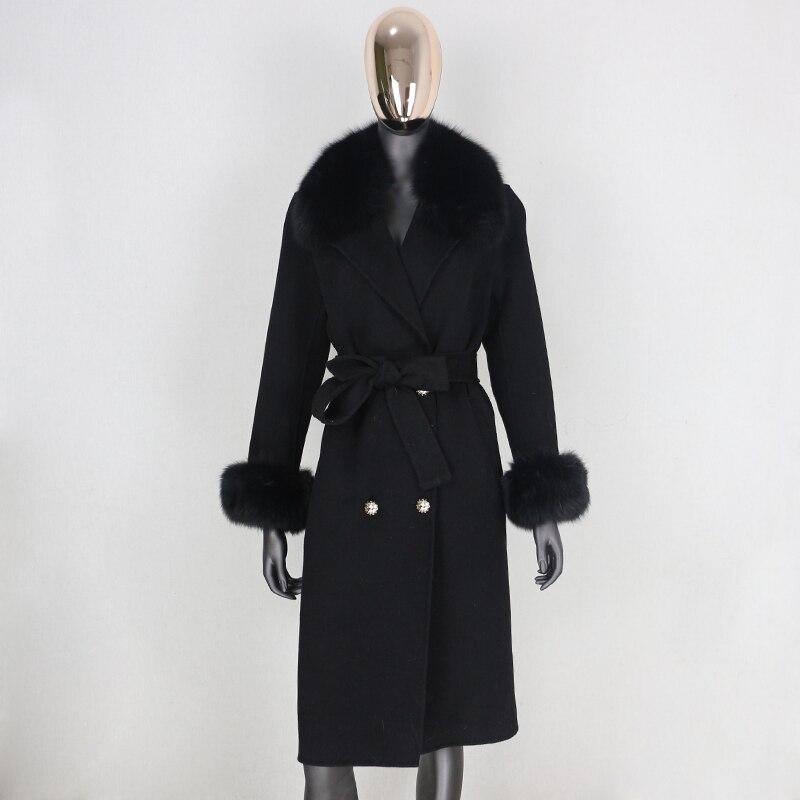 H8606591432da4b73a1d3915e463465c0k 2021X-Long Natural Mongolia Sheep Real Fur Coat Autumn Winter Jacket Women Double Breasted Belt Wool Blends Overcoat Streetwea