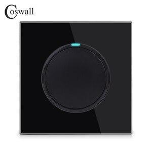 Image 2 - Coswall 1 комплект 1 способ случайный щелчок вкл/выкл настенный выключатель света светодиодный индикатор Хрустальная стеклянная панель Белый Черный Серый Золотой серии R11