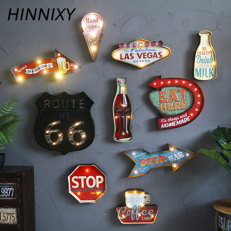 Hinnixy Vintage LED Wall Lamp Coffee Bar Resturant Decor Lighting Iron Art Route66 Cola Ice Cream Remote Control Night Lights