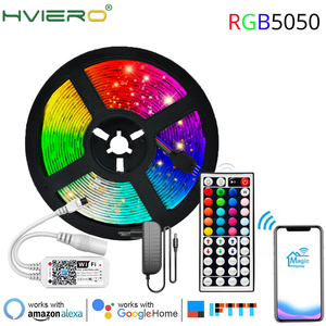 WIFI 5M 10M LED Strip Light RGB 5050 Flexible Ribbon Fita Led Light Strip RGB Tape Diode DC 12V+ Remote Home Decoration Lights