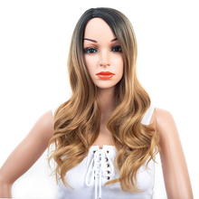 GRES Ombre Wavy Side Part Wig White Women Long Two Tone Blon