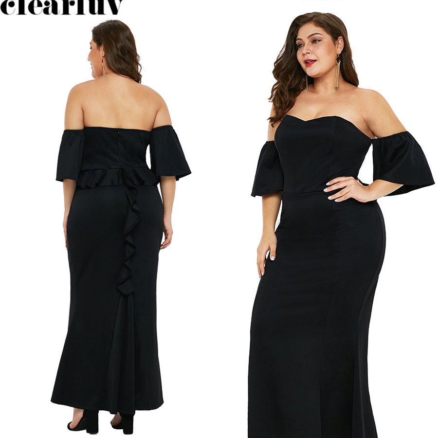 Sexy Strapless Evening Dress Black Backless Robe De Soiree T034 2019 Plus Size Women Party Dresses Off The Shoulder Formal Gowns