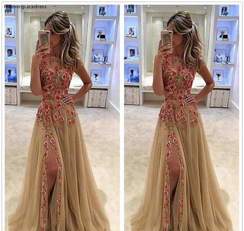 2019 Sleeveless   Prom     Dress   Tulle Split Applique Long Formal Pageant Holidays Wear Graduation Evening Party Gown Plus Size