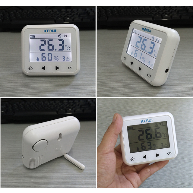 KERUI اللاسلكية LED عرض قابل للتعديل درجة الحرارة والرطوبة جهاز استشعار إنذار للكشف عن حماية السلامة الشخصية والممتلكات