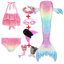 Garland Swimsuit Bikini Princess Costume Mermaid-Tails Kids Girls for Bathing Children