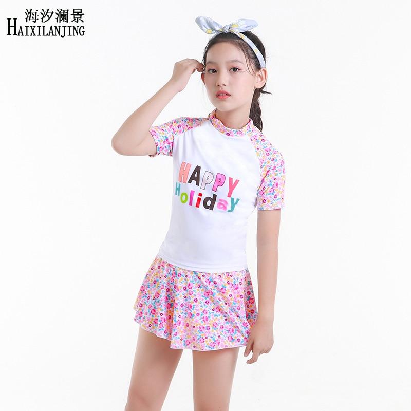 Hai Xi Lan Jing 2019 New Style GIRL'S Swimsuit Big Boy 12-15-Year-Old Students Sun-resistant Half Sleeve Skirt Split Type
