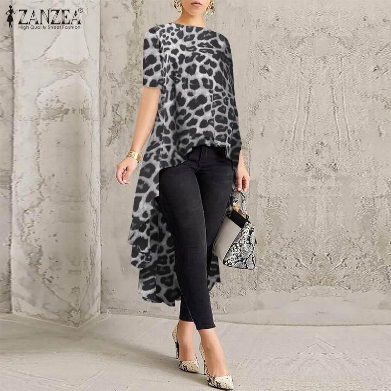 Fashion Leopard Shirt Women Asymmetrical Blouse 2020 ZANZEA Casual Short Sleeve Blusas Female O Neck Tops Tunic Plus Size Mujer