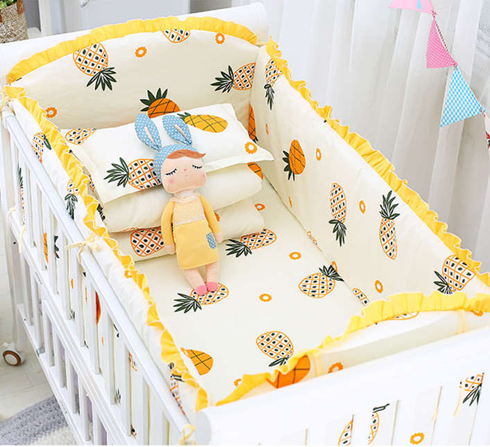 6/9PCS pineapple kids bed bumper infant crib <font><b>set</b></font> newborn Nursery <font><b>Bedding</b></font> <font><b>Baby</b></font> Bed Fence Newborn <font><b>120*60</b></font>/120*70cm image