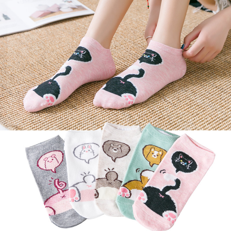 Lovely Cartoon Dog Design Men Cotton Low Cut Ankle Socks Male Soft Boat Socks