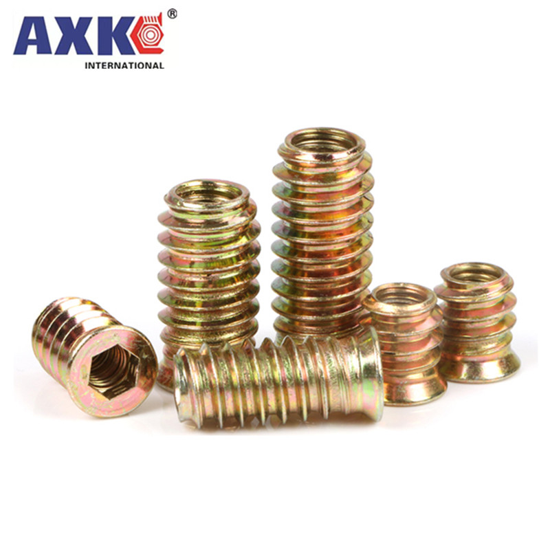 5/20X M6 M8 M10 Steel Metal Hexagon Hex Socket Drive Head Embedded Insert Nut E-Nut for Wood Furniture Inside and Outside Thread