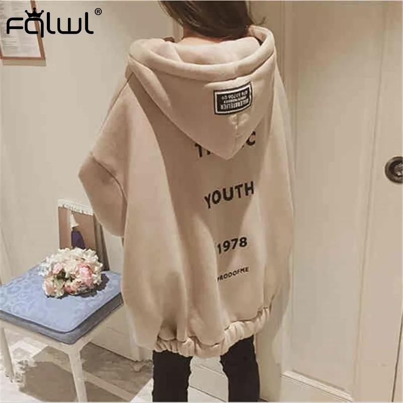 FQLWL Autumn Winter Letter Print Oversized Hoodies Women Pullover Black Grey Harajuku Loose Sweatshirt Female Ladies Long Hoodie