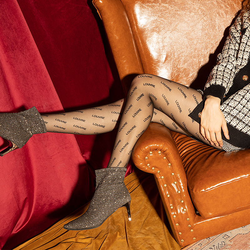 New Popular Letter Stockings Ultra-thin Any English Letters Through Meat Cut Pantyhose Woman Ropa Mujer Tights Rajstopy