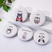 Vicney Cute Animal Mini Makeup Compact Pocket Cartoon Mirror Portable Double-sided Folding Ms Gift