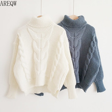 Thicken Pullover Sweater Twisted Turtleneck Knitted Jumper Autumn Winter Warm Knit Pullovers Oversize Woman Korean Tops