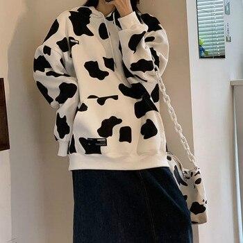 Deeptown Cow Print Oversized Hoodie Autumn Cotton Korean Style Sweatshirt Women Loose Long Sleeve Streetwear Plus Size Pullover women black white dairy cow print oversized sweatshirt plus size streetwear casual hoodies jumper top loose pullovers