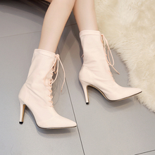 Shoes Woman Lace Up Mid Calf Boots Fashion High Heels Elastic Pointed Toe Boots Ladies Designer Half Booties Zapatos De Mujer hot sale beautiful women mid calf velvet boots block heeled blue black pointed toe back zip boots party high heels zapatos mujer