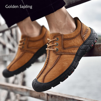 Golden Sapling Outdoor Shoes Men Genuine Leather Retro Tooling Boots Soft Rubber Mountain Trekking Sneakers Men's Tactical Boot|Hiking Shoes| |  -
