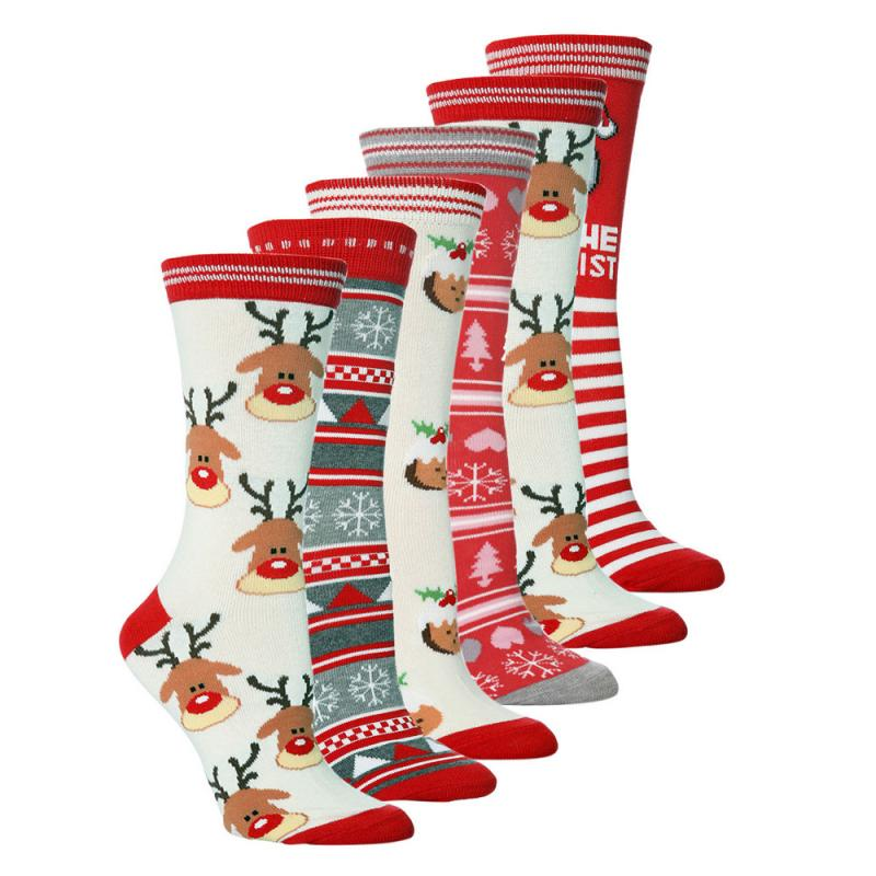 Outdoor Cycling Socks Women Men Road Bicycle Socks New Year Santa Claus Snow Elk Sport Socks Gift Happy Autumn Winter Socks