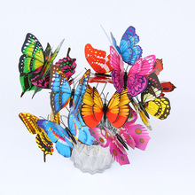 12Pcs PVC Double Layer Butterfly With Sticks 3D Wall Sticker Decals Home Decorations For Living Room Outdoor Garden Multicolor
