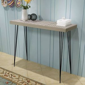 IKAYAA Retro Side Table MDF Steel Furniture Console Table For Living Room Home Decoration Elegant Decorative Patterns Table