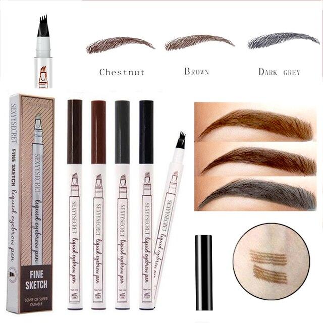 4 Colors Eyebrow Pencil Waterproof Microblading Eye brow Pencil Brown Tattoo Pen Fork Tip Liquid Eyebrow Enhancer Dye Tint Pen