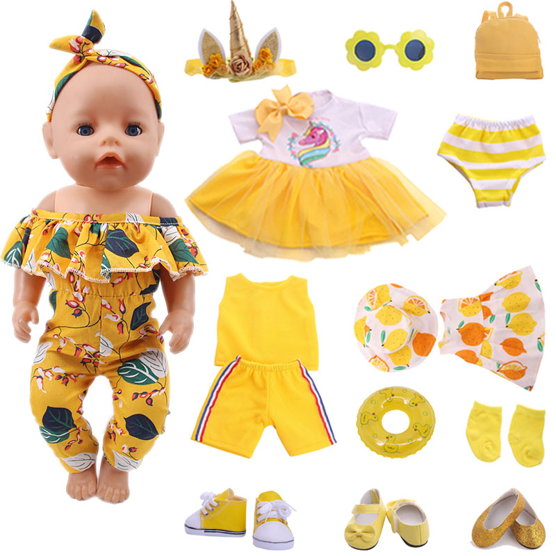 Doll Baby Clothes Yellow Series Swimsuit Fit 18 Inch American And 43 Cm Reborn Doll Accessories, Russian OG Girl Doll DIY Toys