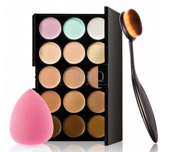 15 Color Concealer Contouring Makeup Kit Cream Based Professional Concealer Palette Make Up Set Pro Palette Brush Sponge Puff