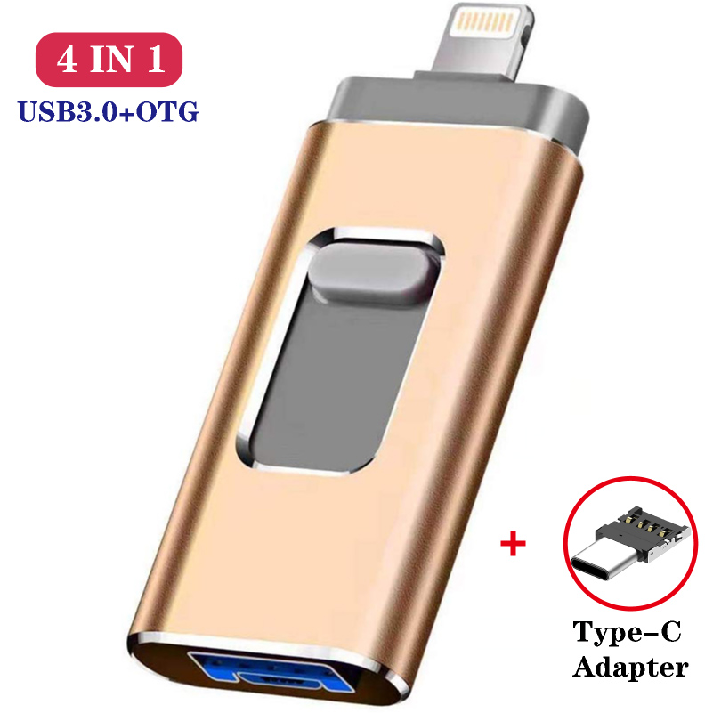 4IN1 Metal USB Flash Drive 128GB OTG Pen Drive 32GB 64GB USB 3.0 Flash Disk For IPhone 11 Pro/XR/XS Max USB Memory Stick TYPE C