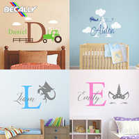 Наклейка на стену для маленьких девочек и мальчиков, детская комната, индивидуальное название, многостильное украшение на стену, украшение ...