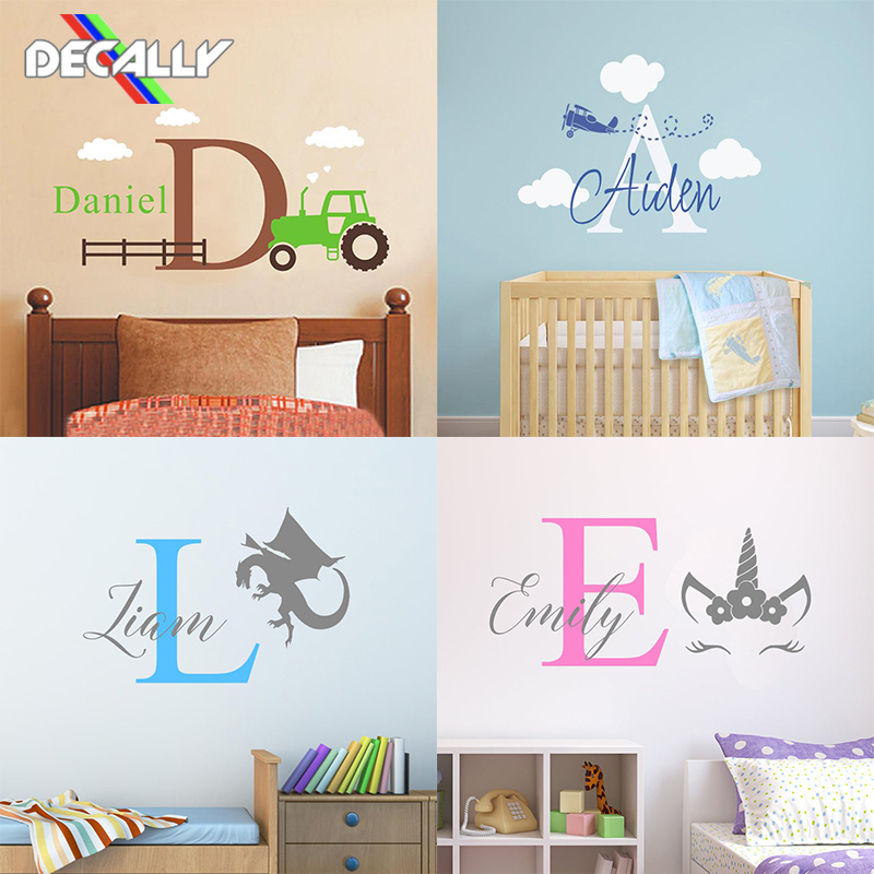 Adesivo de parede bebê menina e menino nursey quarto nome personalizado multi-estilo decoração da parede casa bonito multi-cor dos desenhos animados