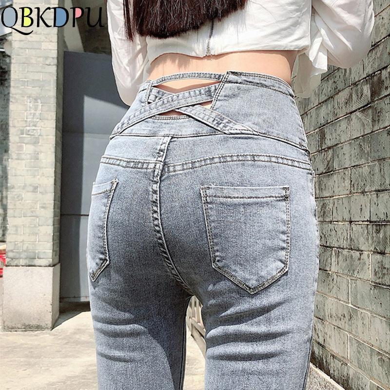 High Waist Women Jeans Stretch Skinny Jeans Woman Push Up Washed Skinny Denim Pants Fashion Femme 2020 Mom Jeans Vintage Spring