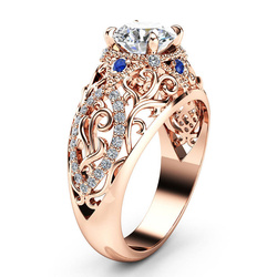 Huitan Gorgeous Women Wedding Rings Dazzling 4 Claw Solitaire CZ Hollowed Out Pattern Fine Anniversary Gift Ring Classic Jewelry