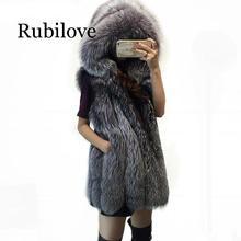 Rubilove Plus Size Fashion Fox Fur Vest Hooded Thick Warm Female Outerwear Faux Coat