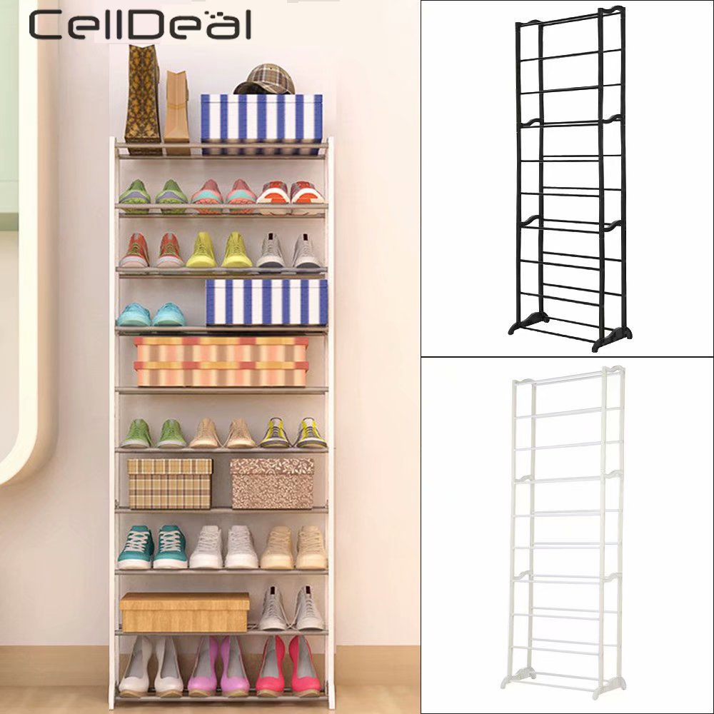 CellDeal 10 Tier 30 Pairs Shoes Heels Storage Shoes Rack Holds Stand Shelf Shoes Organizers Shoes Cabinet Sapateira Organizers