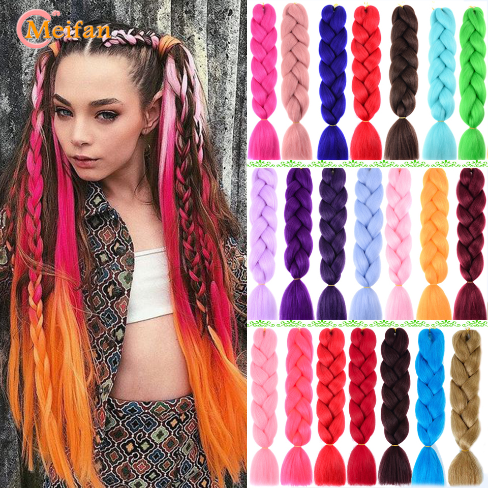 MEIFAN 100g/Pack Ombre Pink Purple Blue Color Synthetic Kanekalon Jumbo Braids Rainbow Braiding Hair Extension For Women